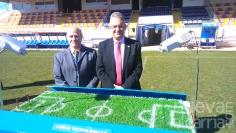 El Escartín será el primer estadio del mundo en contar con un sistema de protección de césped