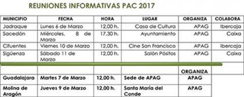 APAG ofrecerá seis sesiones informativas sobre la PAC en marzo