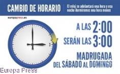 La madrugada de este domingo, a las 2.00 horas serán las 3.00 horas y se recuperará el horario de verano