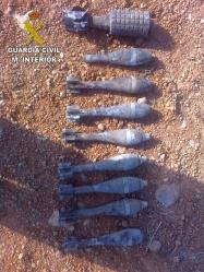 La Guardia Civil desactiva nueve Granadas de Mortero originarias de la Guerra Civil en el término municipal de Las Inviernas