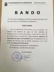 Corte de suministro de agua en Corduente, por limpieza del depósito municipal.