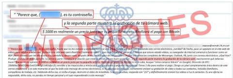 La Policía Nacional alerta de una campaña masiva de extorsión on-line