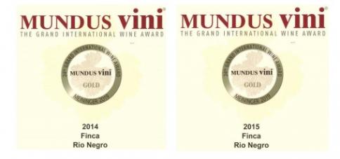 Finco Río Negro logra dos medallas de oro en el concurso alemán Mundus Vini