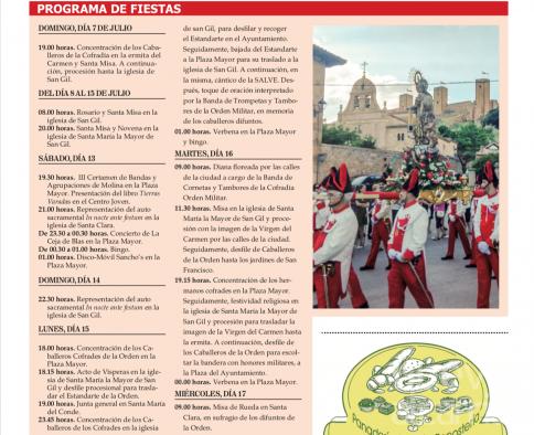 Programación Fiestas del Carmen en Molina de Aragón