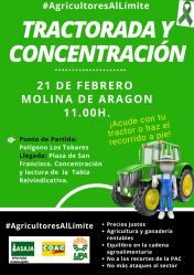 Tractorada y concentración de agricultores y ganaderos en Molina de Aragón