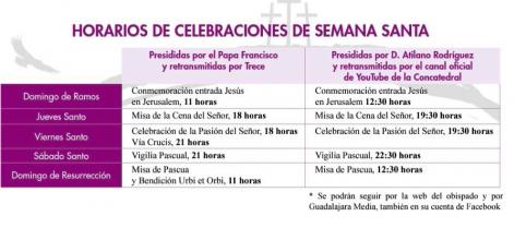Misas de Semana Santa online y televisión