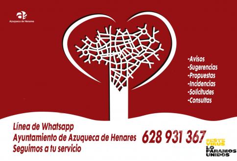 Azuqueca mantiene activa para la ciudadanía la línea de 'whatsapp' para atender avisos, consultas o propuestas
