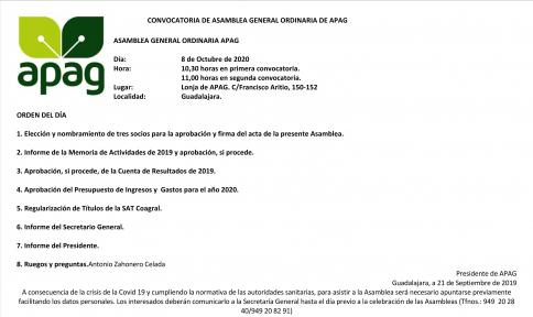 Convocatoria de asamblea general ordinaria de APAG