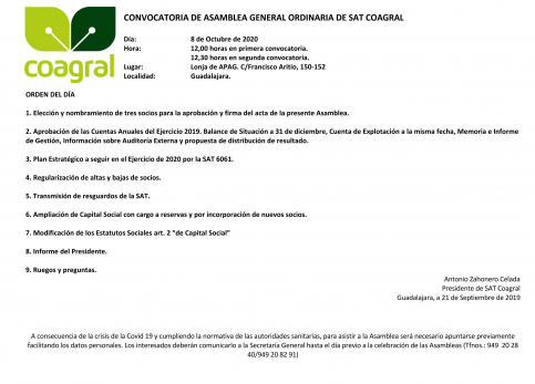 Convocatoria de asamblea general ordinaria de SAT COAGRAL