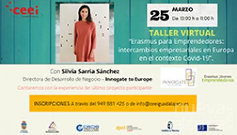 El taller virtual del CEEI Guadalajara de este jueves versará sobre Erasmus para emprendedores