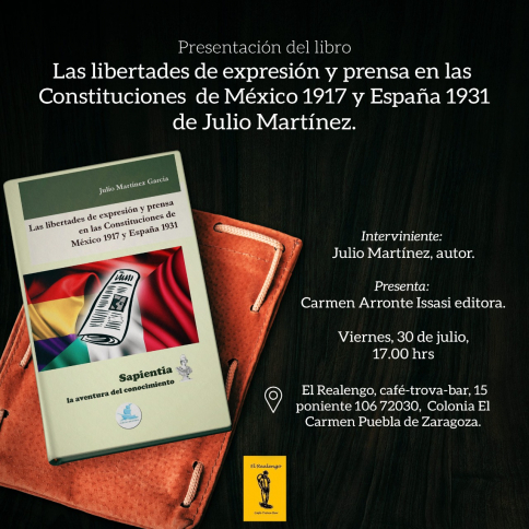 Evento literario en México con Julio Martínez que presentará su segundo libro sobre libertad de prensa y expresión