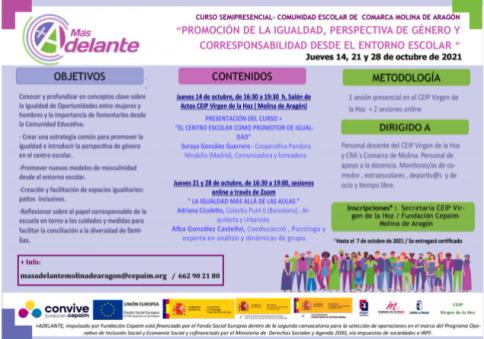 Promoción de la igualdad, perspectiva de género y corresponsabilidad desde el entorno escolar